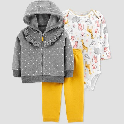 Baby Girls' Safari Fleece Top & Bottom Set - Just One You® made by carter's Mustard 12M