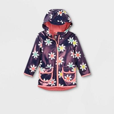 Toddler Girls' Floral Print Rain Jacket - Cat & Jack™ Navy
