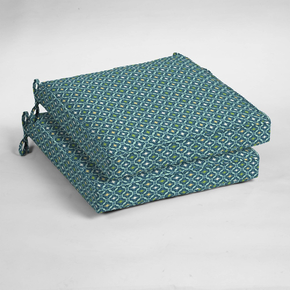 Image of 2pk Alana Tile Single Welt Outdoor Seat Cushions - Arden Selections
