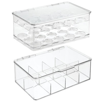 mDesign Plastic Stackable Kitchen Box for Coffee Pods, Tea Bags, Set of 2, Clear