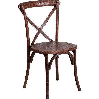 Hercules Series Stackable Wood Cross Back Chair - Riverstone Furniture Collection