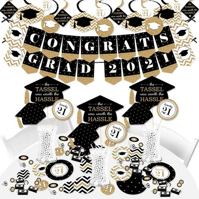 Big Dot of Happiness Gold - Tassel Worth the Hassle Grad - 2021 Black Graduation Party Supplies - Banner Decoration Kit - Fundle Bundle