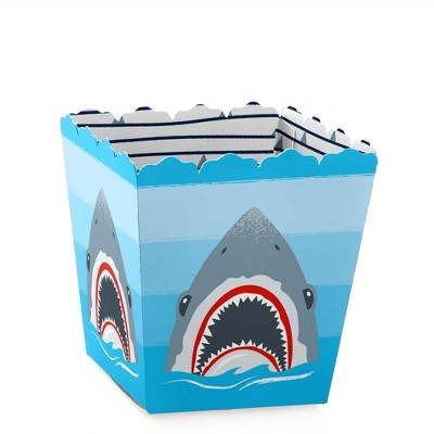 Big Dot of Happiness Shark Zone - Party Mini Favor Boxes - Jawsome Shark Viewing Week Party or Birthday Party Treat Candy Boxes - Set of 12