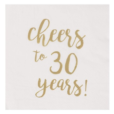 """Juvale 50-Pack Cheers to 30 Years White Gold Foil Disposable Paper Napkins 5"""" 30th Birthday Party Supplies"""