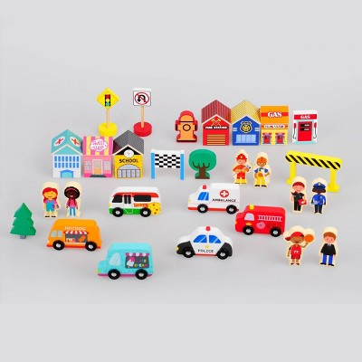 28ct Wood Toy Buildings and People - Bullseye's Playground™