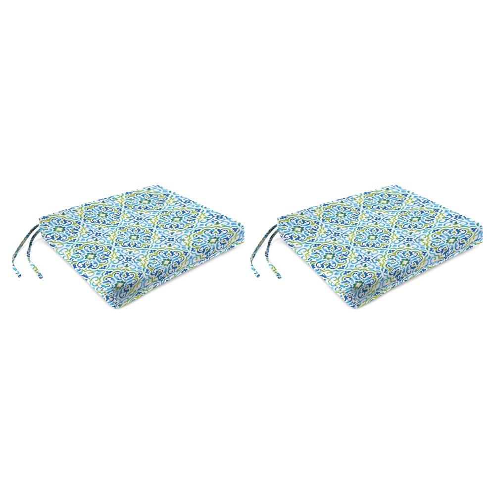 Outdoor Set Of 2 French Edge Seat Cushions In ReIna Capri - Jordan Manufacturing, Winter White