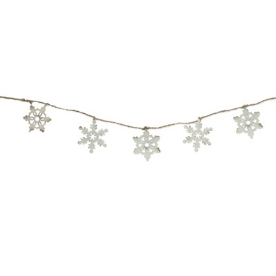 """Ganz 5' x 3"""" Ivory and Brown Snowflake Artificial Christmas Garland - Unlit"""