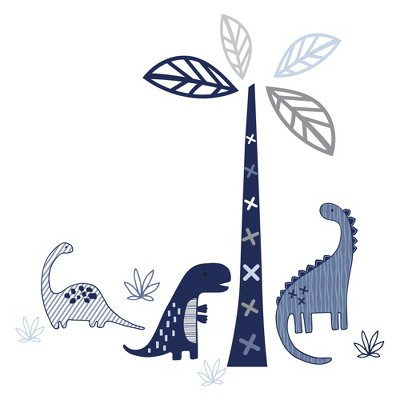 Lambs & Ivy Baby Dino Nursery Blue/Gray Dinosaur and Tree Wall Decals/Stickers