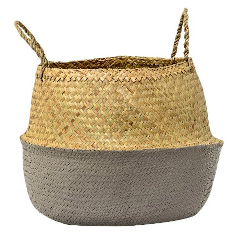 """Seagrass Basket with Handles - Natural/Gray (19"""") - 3R Studios - image 1 of 2"""