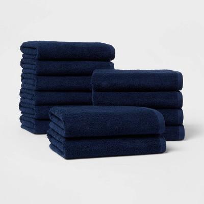 12pk Everyday Bath Towel Bundle Navy - Room Essentials™