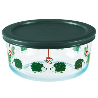 Pyrex 4cup Glass Hedgehog Love Food Storage Container Green