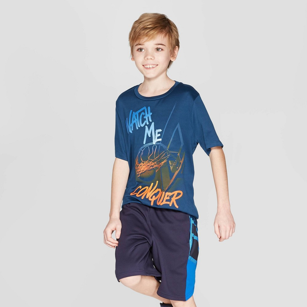 Boys' Watch Me Conquer Graphic Tech T-Shirt - C9 Champion Blue XL