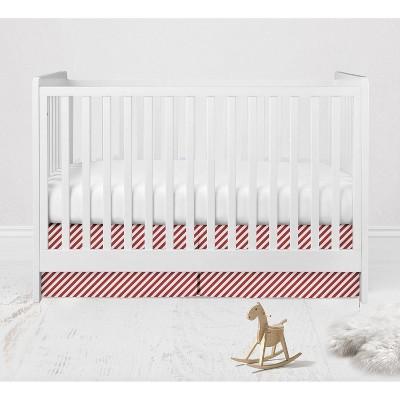 Bacati - Space Red Pin Stripes Cotton Crib/Toddler Crib Skirt