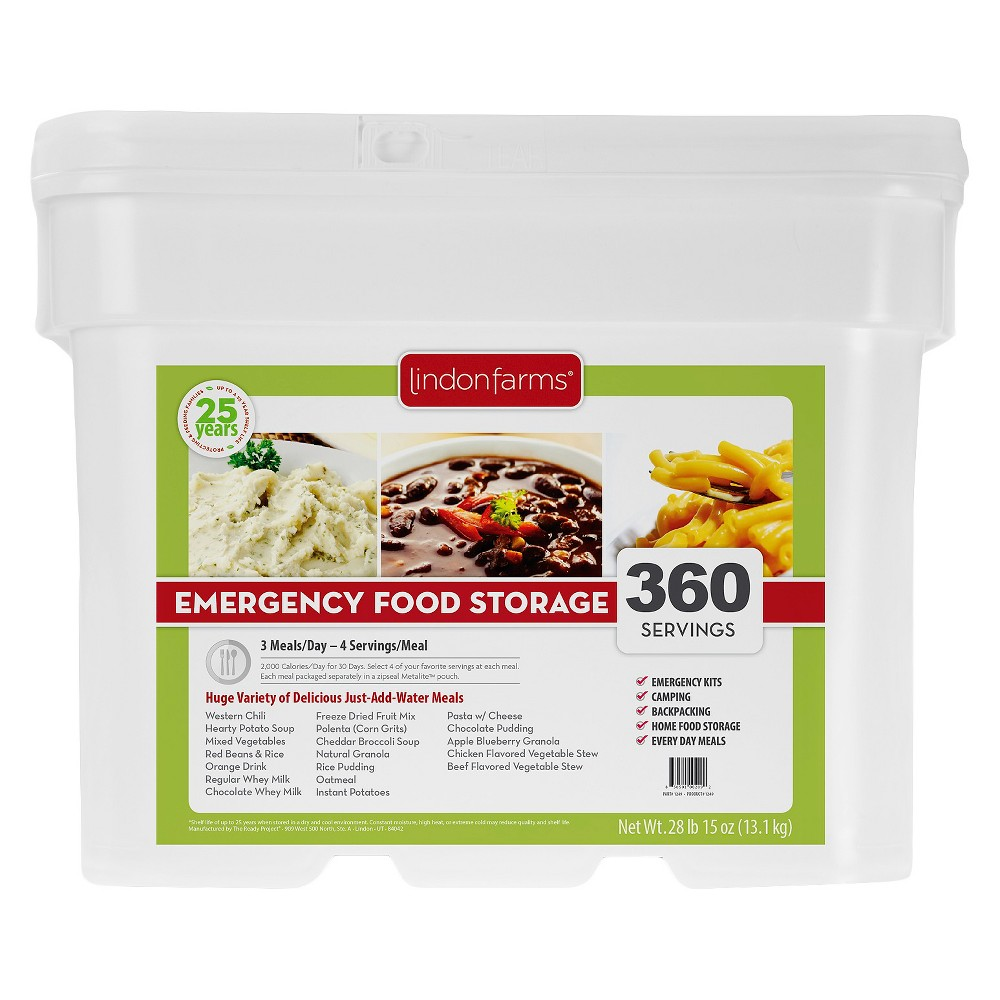 Lindon Farms Emergency Food 360-Serving Meal Solution Food Storage Pail