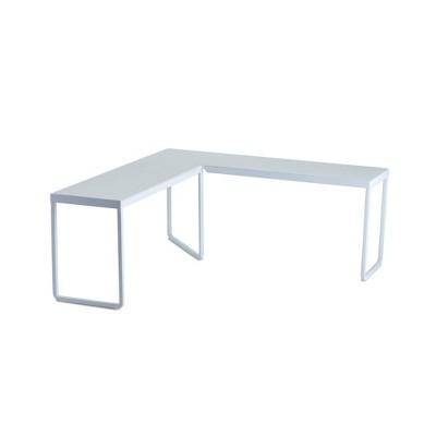 """Design Ideas Franklin Corner Riser – Desktop or Kitchen Cabinet Shelf – White, 14.8"""" x 14.8"""" x 5.9"""""""