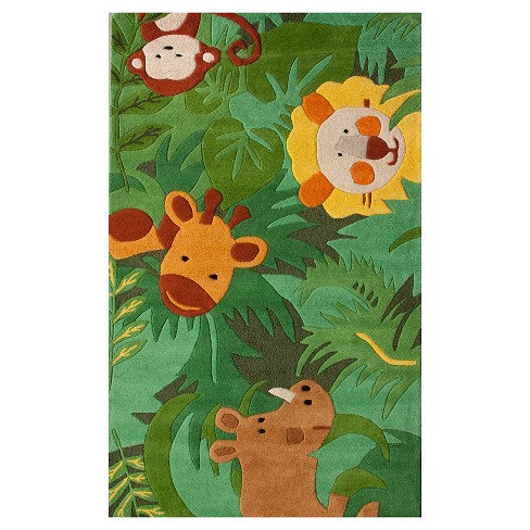 "nuLOOM 100% Wool Hand Tufted King of the Jungle Accent Rug - Green (3' 6"" X 5' 6"") - image 1 of 2"