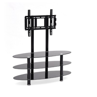 "3 Shelf Glass TV Stand with Mount Black 44"" - Hodedah Import"