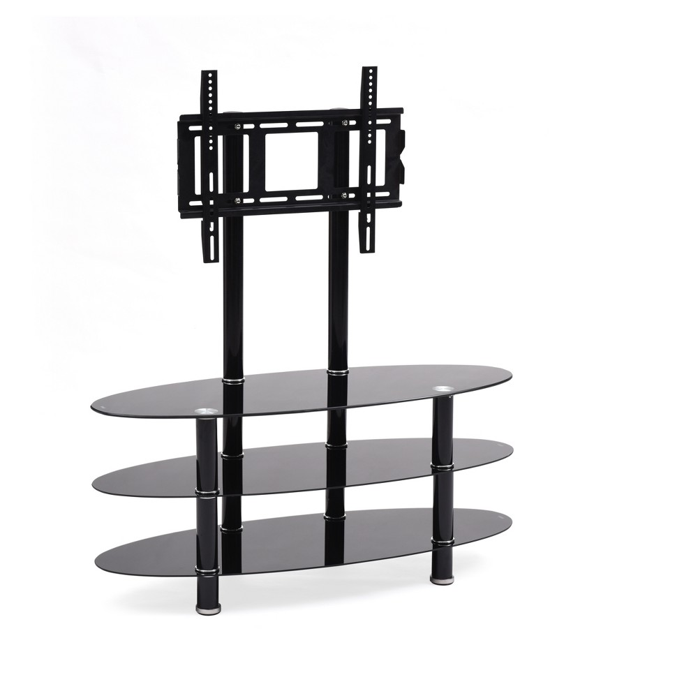 "Image of ""3 Shelf Glass TV Stand with Mount Black 44"""" - Hodedah Import"""