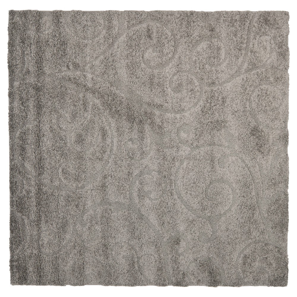 Gray Abstract Shag/Flokati Loomed Square Accent Rug - (4'X4') - Safavieh