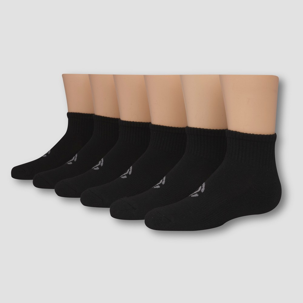 Boys' 6pk Ankle Athletic Socks - C9 Champion Black L Keep it comfy no matter the occasion with these Gray Stripe Ankle Socks from C9 Champion. Whether he's playing tag outside or relaxing on the couch watching his favorite movie, these socks will keep his feet cool and comfortable. Thanks to the moisture wicking technology, his feet will stay dry from morning through night. Size: L. Color: Black. Gender: Male. Age Group: Kids. Pattern: Solid. Material: Polyester.