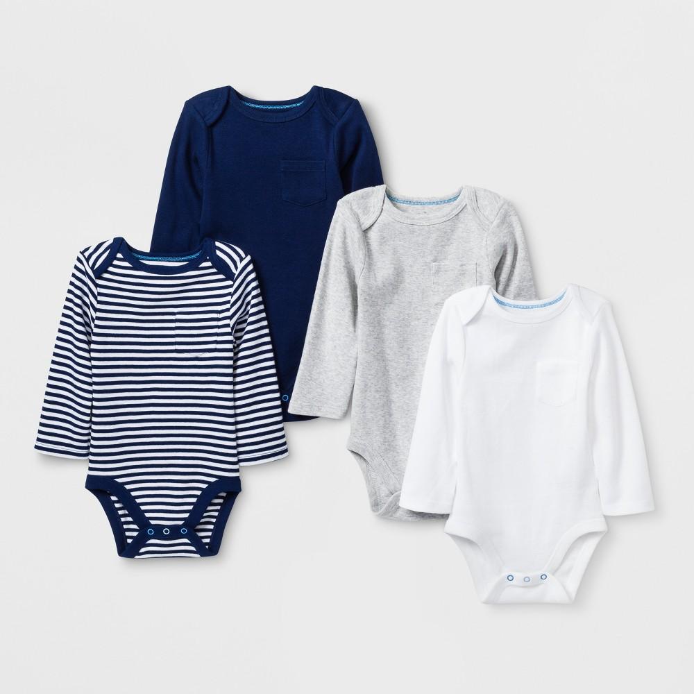 Baby Boys' 4pk Pocket Long sleeve Bodysuit - Cloud Island Blue 24M