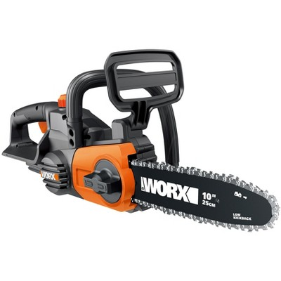 "Worx WG322.9 10"" Cordless Chain Saw, 20V Li-Ion, Auto-Tension, Auto-Oiling (Tool Only)"