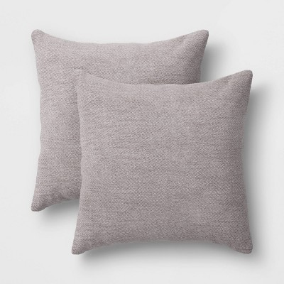 "2pk 18""x18"" Solid Chenille Square Throw Pillows Gray"