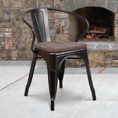 Flash Furniture Metal Chair with Wood Seat and Arms