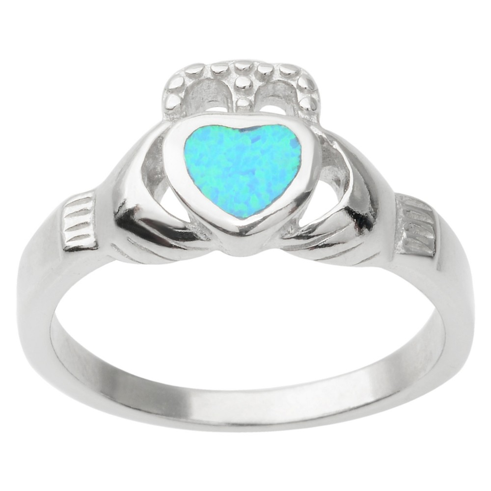 1/3 CT. T.W. Heart-Cut Opal Claddagh Inlaid Ring in Sterling Silver - Blue (8), Girl's