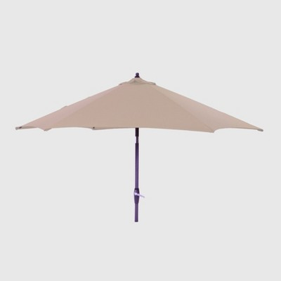 9' Round Patio Umbrella Tan - Black Pole - Threshold™