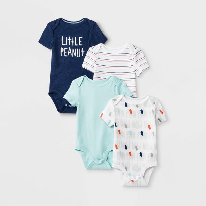 Baby 4pk Little Peanut Short Sleeve Bodysuits - Cloud Island™ - image 1 of 1