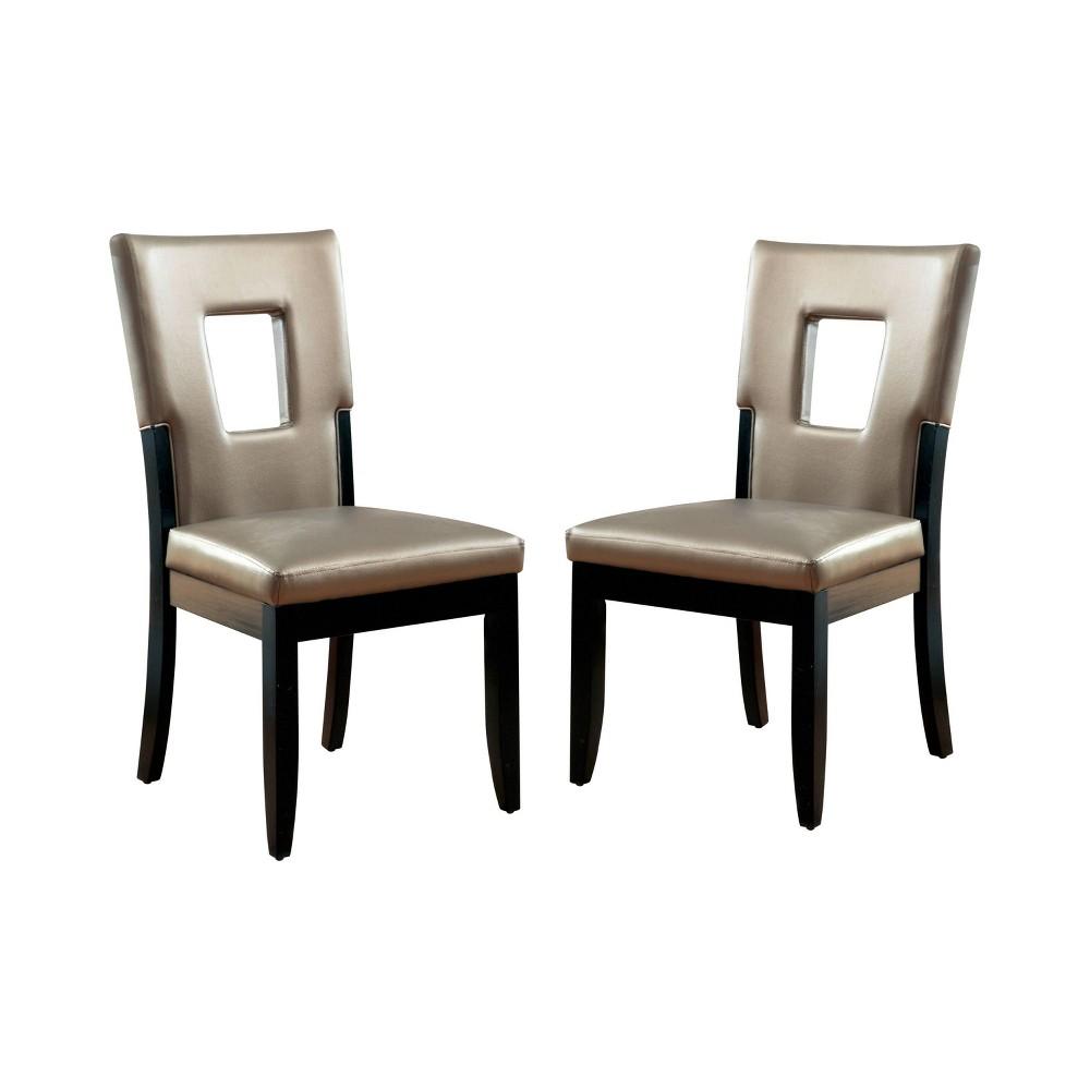Set of 2 Brunston Rectangular Hole Back Side Chair Espresso ioHOMES