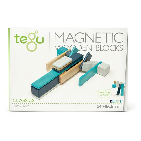 Tegu Magnetic Wooden Block Set in Blues - 24 Piece - image 1 of 6