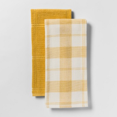 2pk Checked with Solid Kitchen Towel Yellow - Threshold™