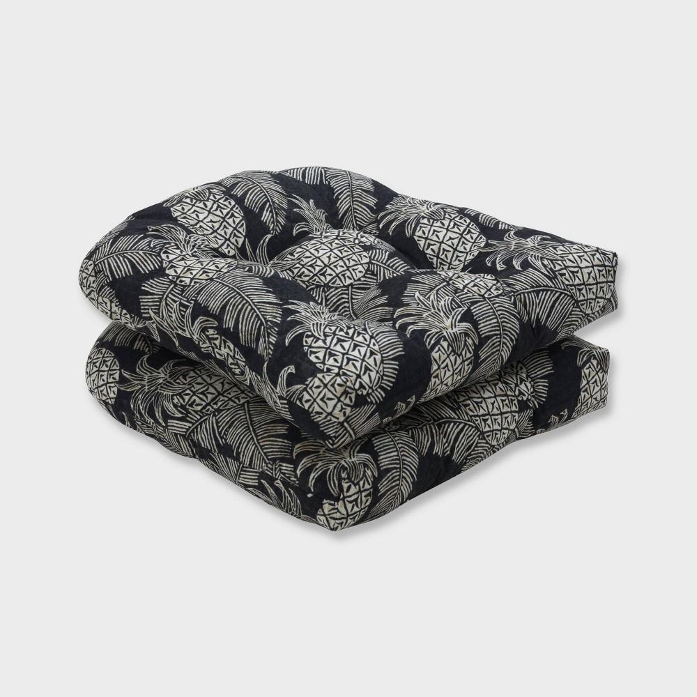 2pk Carate Batik Noche Wicker Outdoor Seat Cushions Black - Pillow Perfect