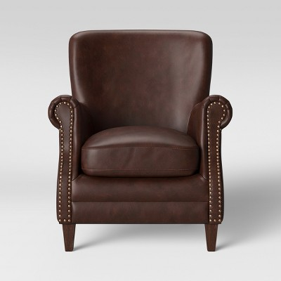 Deerfield Rolled Arm Club Chair Faux Leather Brown - Threshold™