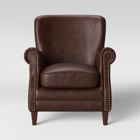 Deerfield Rolled Arm Club Chair Faux Leather Brown - Threshold™ - image 1 of 4