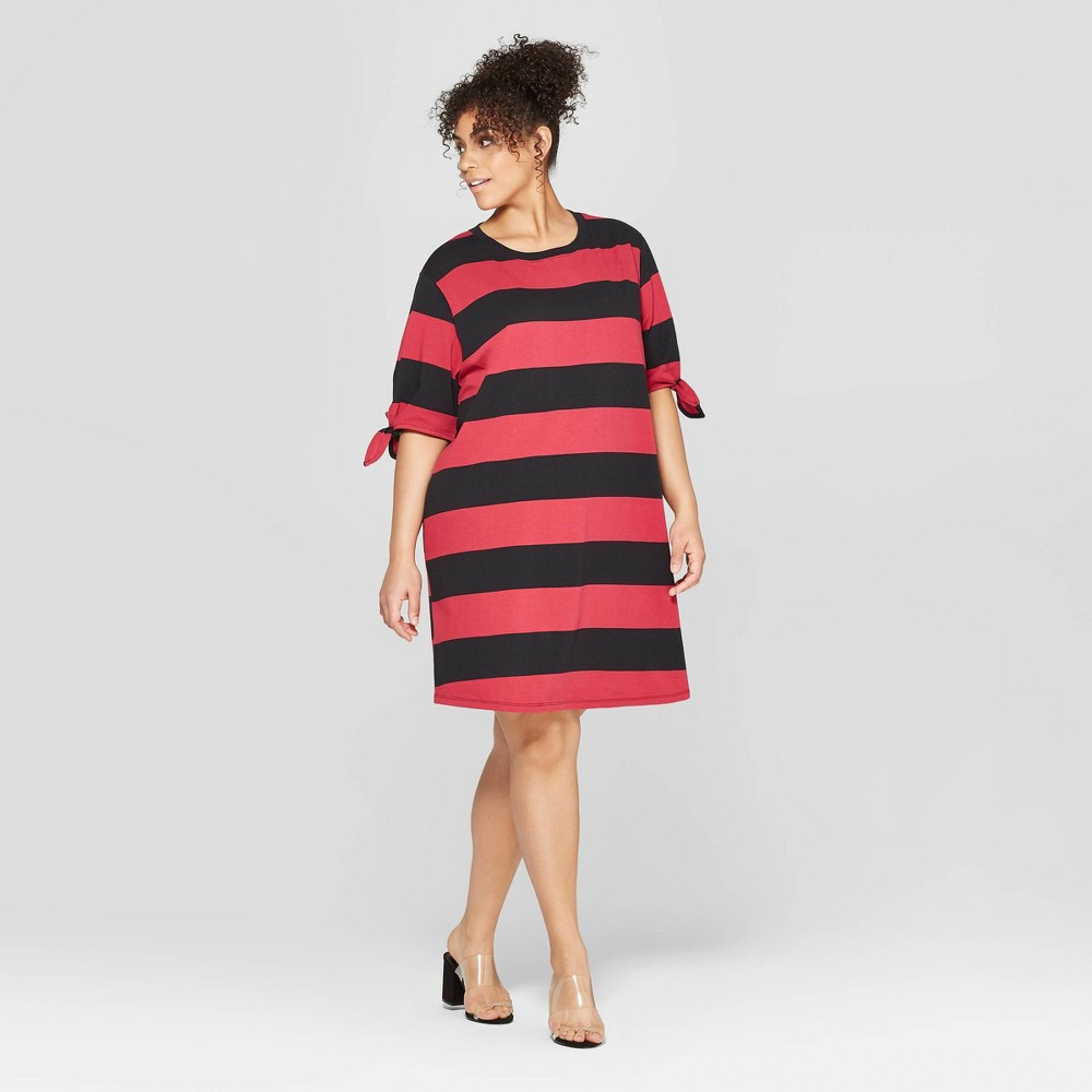 Women's Plus Size Striped Short Knotted Sleeve Crewneck T-Shirt Dress - Who What Wear Red/Black 4X