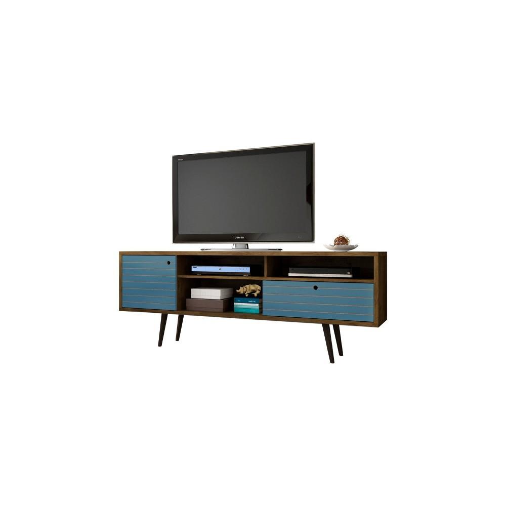 70.86 Liberty Mid Century Modern TV Stand Rustic Brown/Aqua Blue - Manhattan Comfort