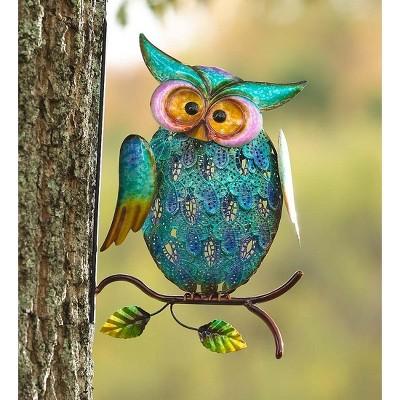 Plow & Hearth - Metal Owl On Branch Indoor / Outdoor Wall Art