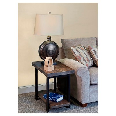 Industrial End Table Reclaimed Wood Rustic Natural - Alaterre Furniture®