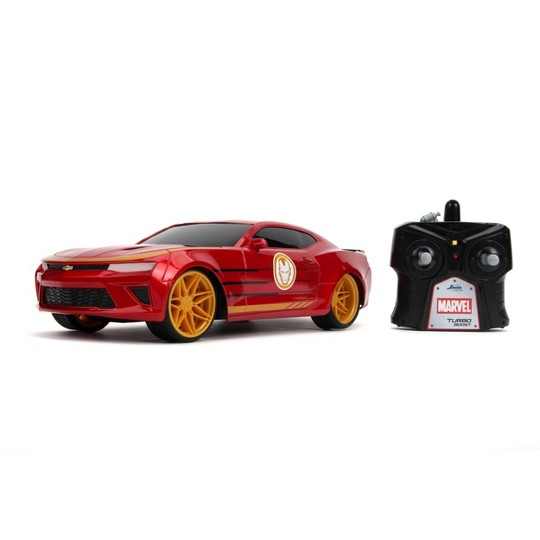 Jada Toys Marvel Avengers Iron Man RC 2016 Chevy Camaro Remote Control Vehicle 1:16 Scale Glossy Red image number null