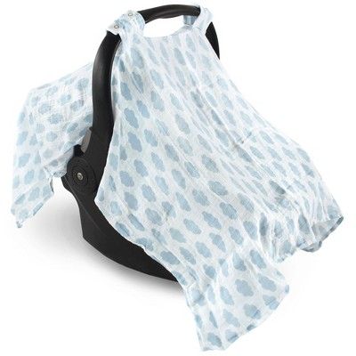 Hudson Baby Infant Boy Muslin Cotton Car Seat and Stroller Canopy, Blue Clouds, One Size