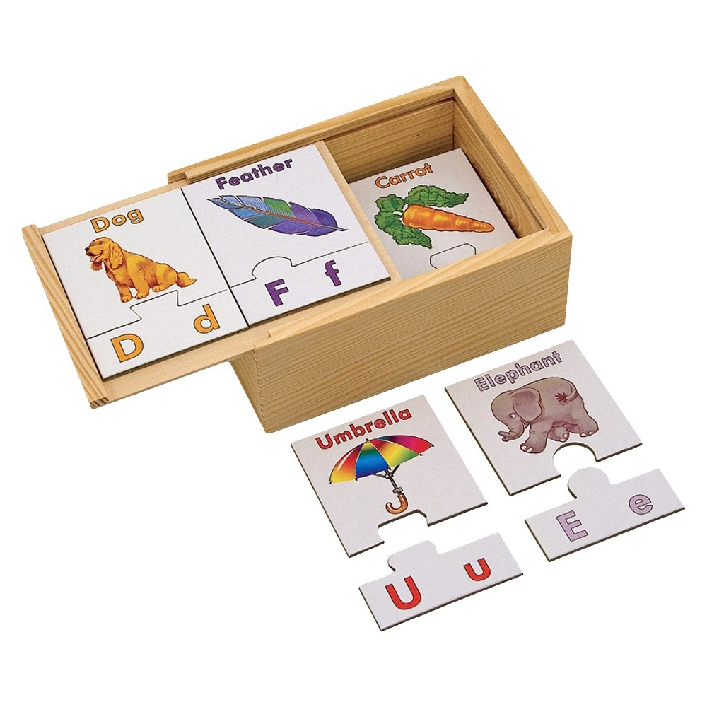 Melissa & Doug Learn the Alphabet Puzzle Cards With Wooden Storage Box (52pc)