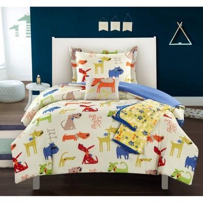 4pc Twin Furbabies Comforter Set Blue - Chic Home Design