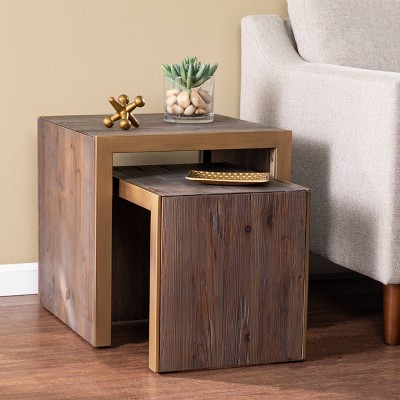 Set of 2 Vensle Reclaimed Wood Nested Accent Tables Natural - Aiden Lane
