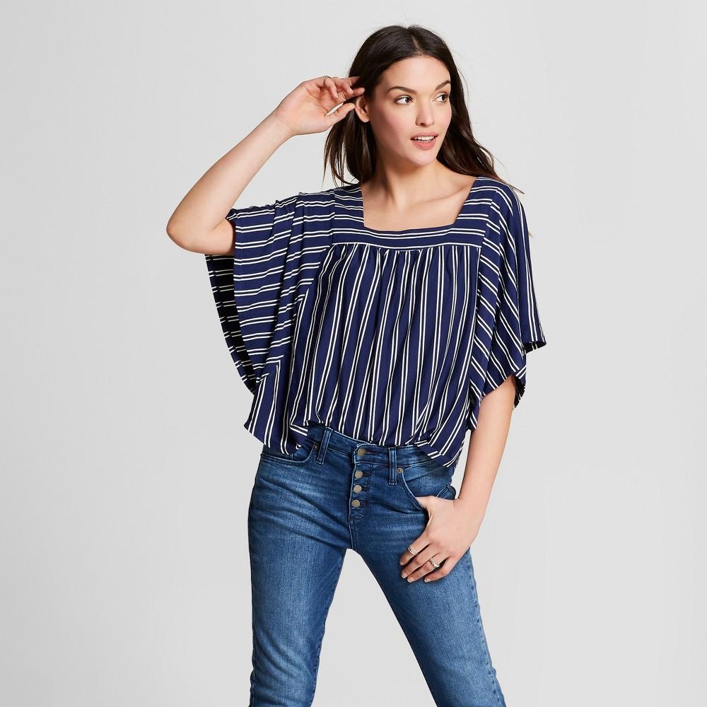 Women's Striped Flutter Sleeve Top - Universal Thread Navy (Blue) Xxl