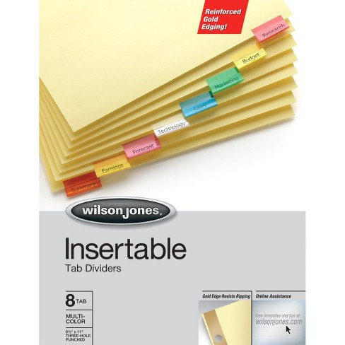 Wilson Jones Insertable Dividers - Gold Line, 8-Tab Set,  Tabs on Buff Paper - 8 / Set - , Transparent Tab(s) - image 1 of 1