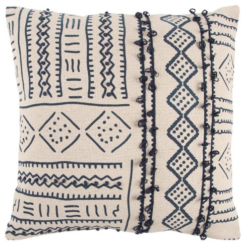 Beige Tribal Throw Pillow - Rizzy Home - image 1 of 3