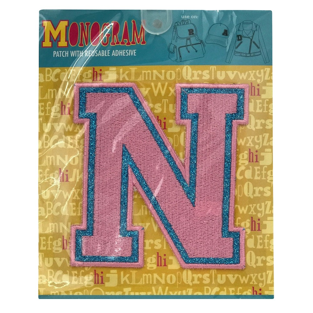 Fashion Assorted Letters N Patch With Reusable Adhesive, Pink